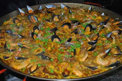 Paella with sea food and chicken